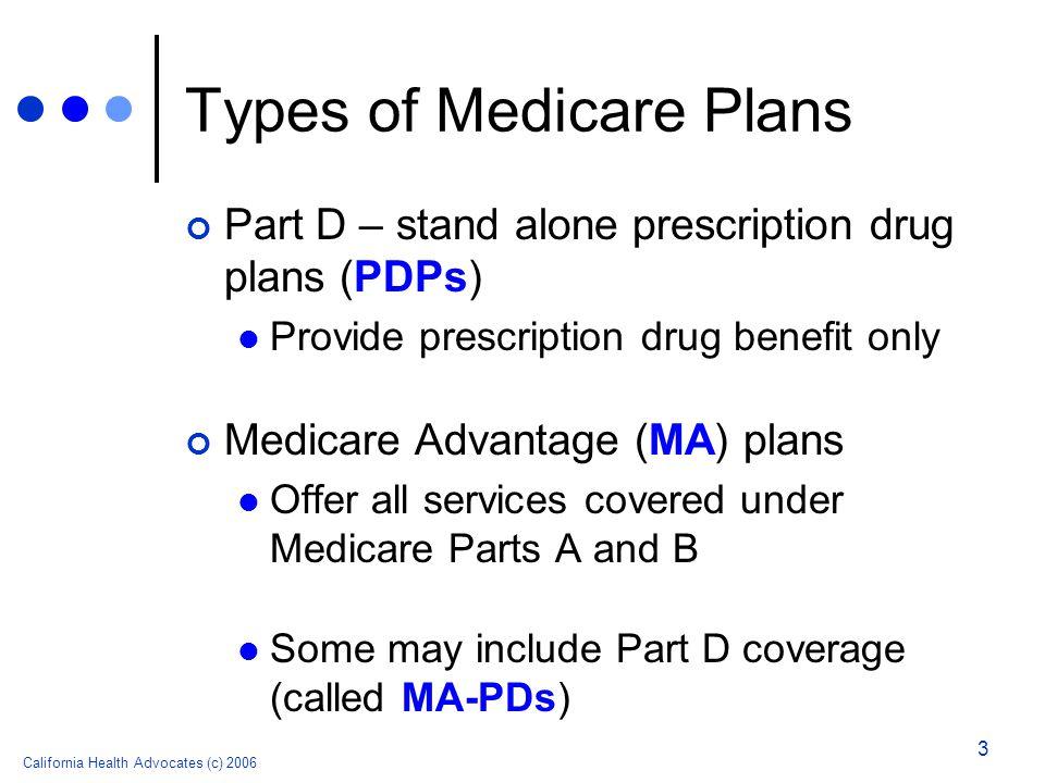 California Health Advocates (c) 2006 3 Types of Medicare Plans Part D – stand alone prescription drug plans (PDPs) Provide prescription drug benefit o