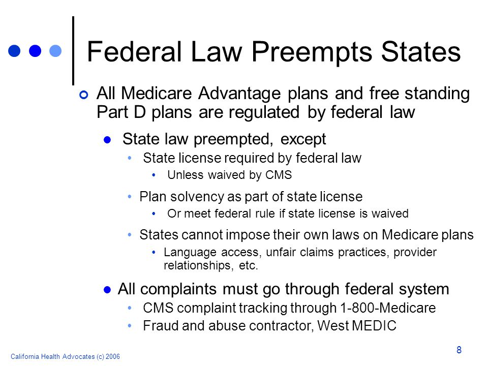 California Health Advocates (c) 2006 8 Federal Law Preempts States All Medicare Advantage plans and free standing Part D plans are regulated by federa