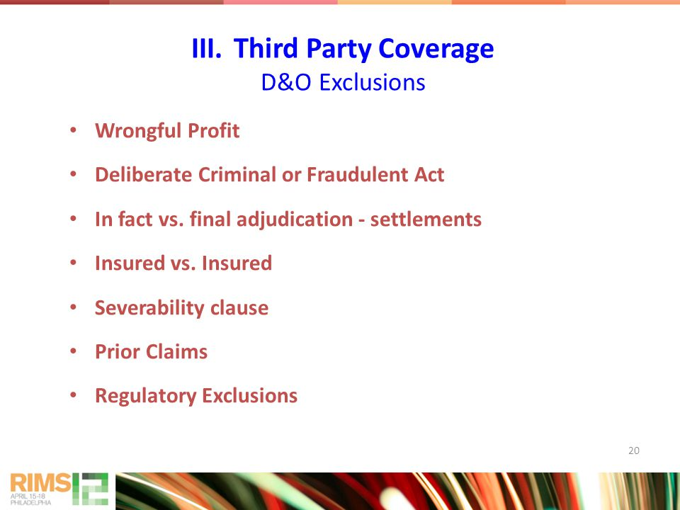 20 Wrongful Profit Deliberate Criminal or Fraudulent Act In fact vs.