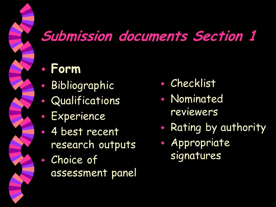 Submission documents Section 1 w Annexure w Relevant biographical w Research outputs of last five years w Research outputs preceding 10 years w Postgraduate students w Accomplished research w Self-assessment w Contributions to corrective action w Cooperation with industry w Ongoing and future research