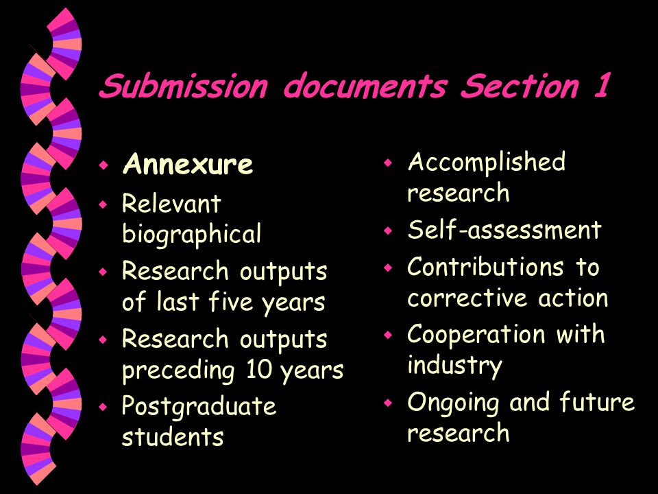 Research outputs (of the last five years) w Publications in peer- reviewed journals and peer-reviewed published conference proceedings w Books/chapters in books w Published conference proceedings w Patents w Technical reports w Postgraduate students trained w Artefacts w Any other research outputs that can be assessed