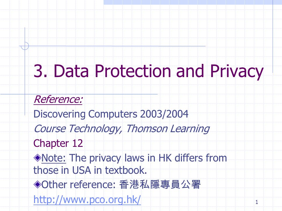 1 3. Data Protection and Privacy Reference: Discovering Computers 2003/2004 Course Technology, Thomson Learning Chapter 12 Note: The privacy laws in H