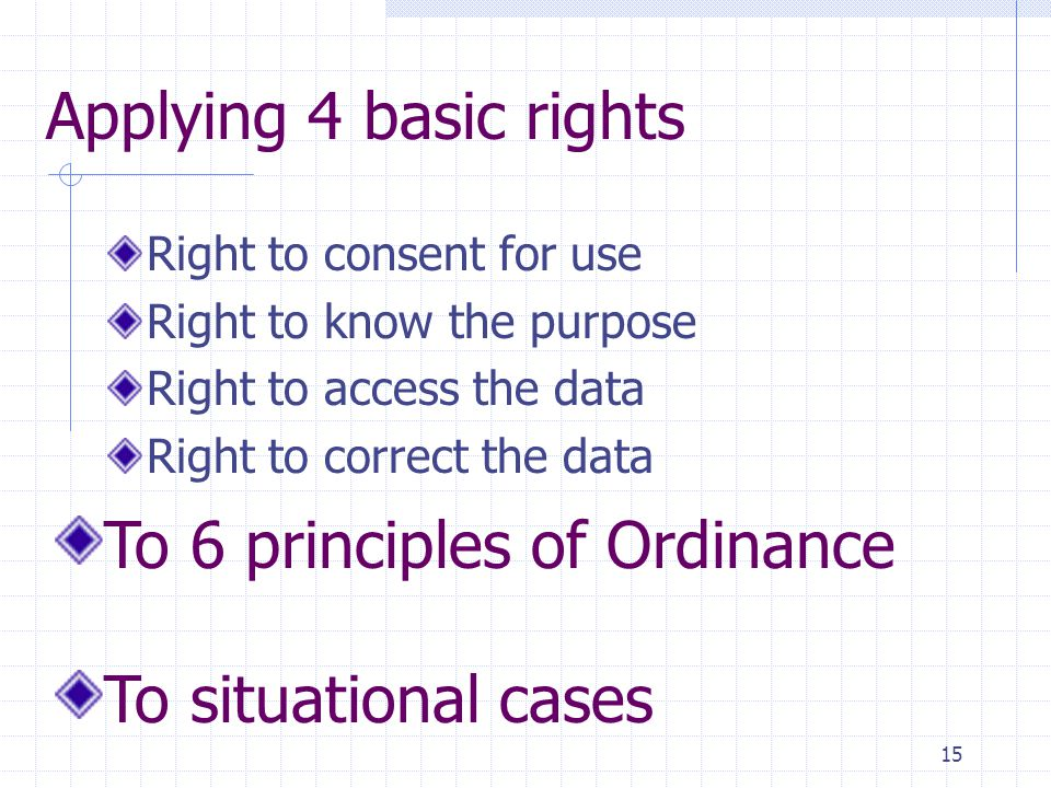 15 Applying 4 basic rights Right to consent for use Right to know the purpose Right to access the data Right to correct the data To 6 principles of Ordinance To situational cases