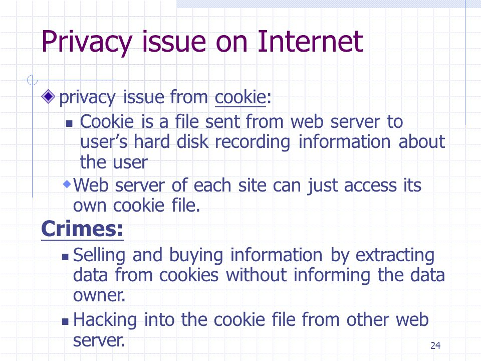 24 Privacy issue on Internet privacy issue from cookie: Cookie is a file sent from web server to user's hard disk recording information about the user Crimes:  Web server of each site can just access its own cookie file.
