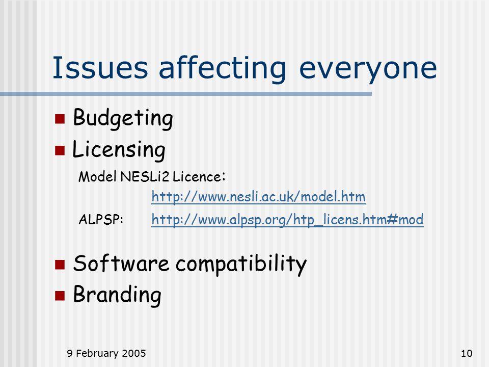 9 February 200510 Issues affecting everyone Budgeting Licensing Model NESLi2 Licence : http://www.nesli.ac.uk/model.htm ALPSP: http://www.alpsp.org/htp_licens.htm#mod http://www.alpsp.org/htp_licens.htm#mod Software compatibility Branding