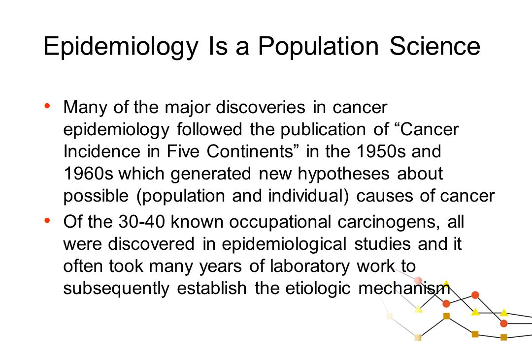 "Epidemiology Is a Population Science Many of the major discoveries in cancer epidemiology followed the publication of ""Cancer Incidence in Five Contin"