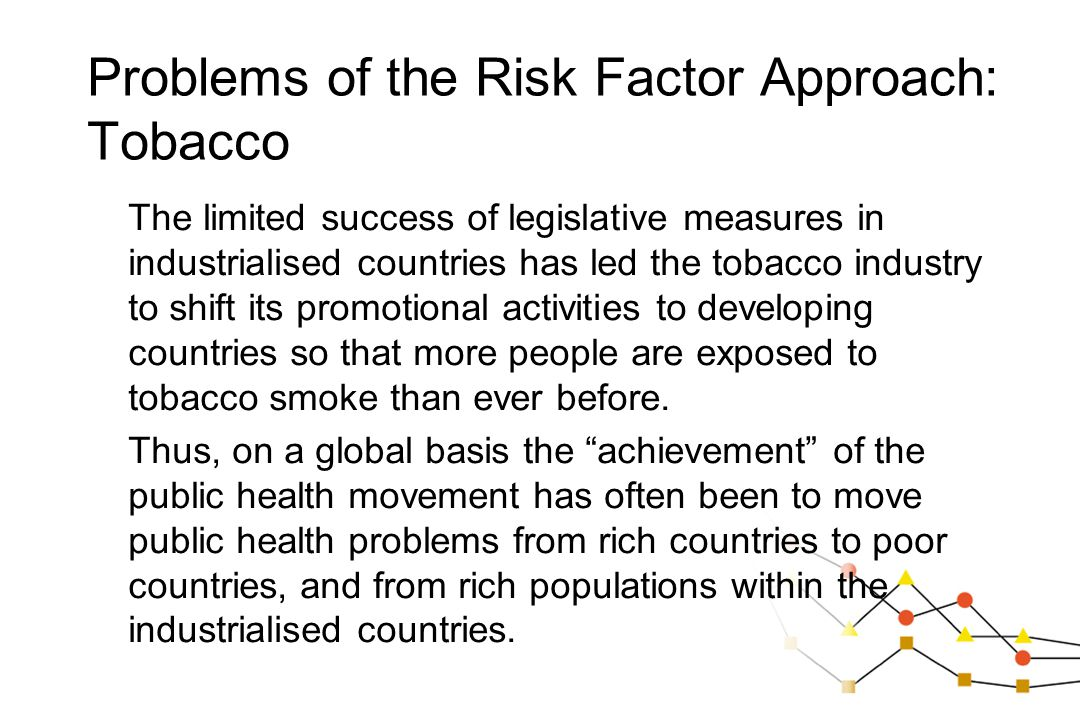 The limited success of legislative measures in industrialised countries has led the tobacco industry to shift its promotional activities to developing