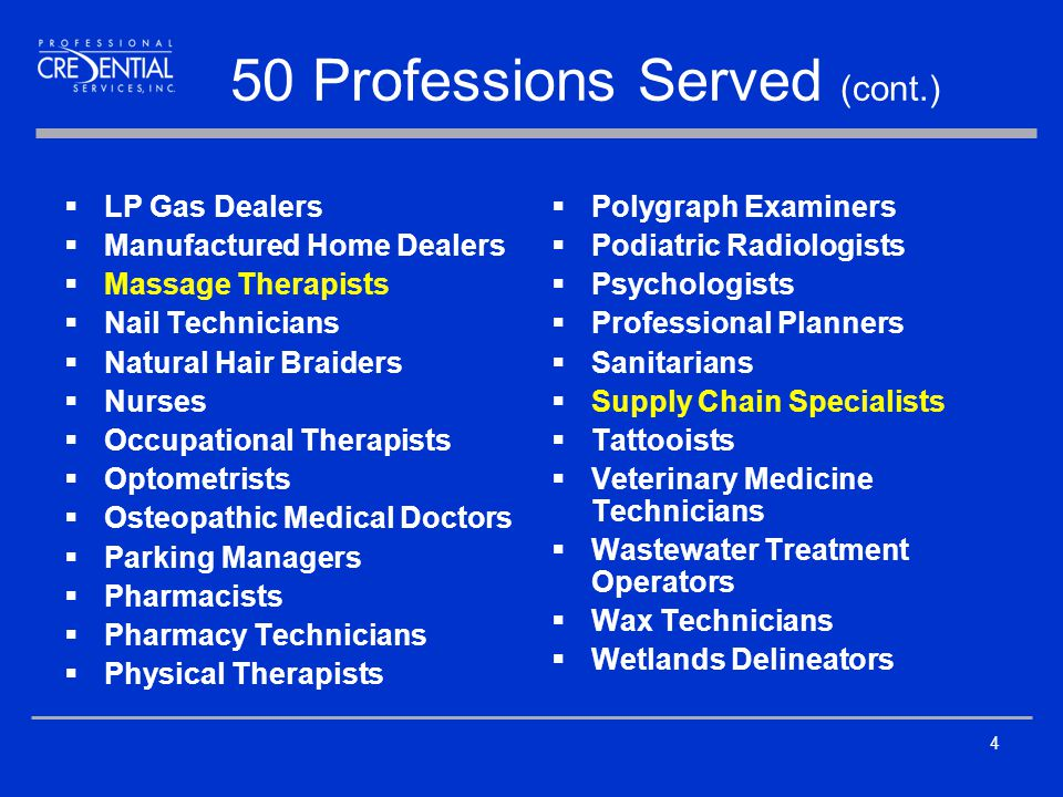 50 Professions Served (cont.)  Polygraph Examiners  Podiatric Radiologists  Psychologists  Professional Planners  Sanitarians  Supply Chain Specialists  Tattooists  Veterinary Medicine Technicians  Wastewater Treatment Operators  Wax Technicians  Wetlands Delineators 4  LP Gas Dealers  Manufactured Home Dealers  Massage Therapists  Nail Technicians  Natural Hair Braiders  Nurses  Occupational Therapists  Optometrists  Osteopathic Medical Doctors  Parking Managers  Pharmacists  Pharmacy Technicians  Physical Therapists