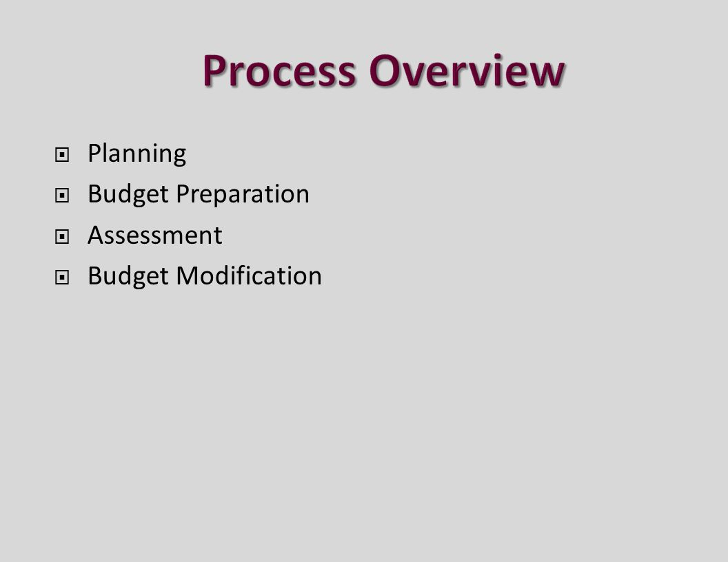  Planning  Budget Preparation  Assessment  Budget Modification