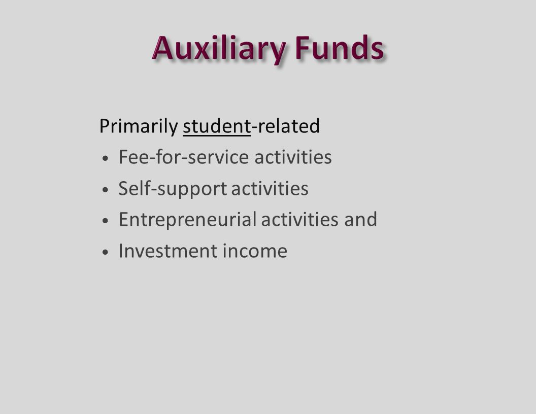 Primarily student-related Fee-for-service activities Self-support activities Entrepreneurial activities and Investment income