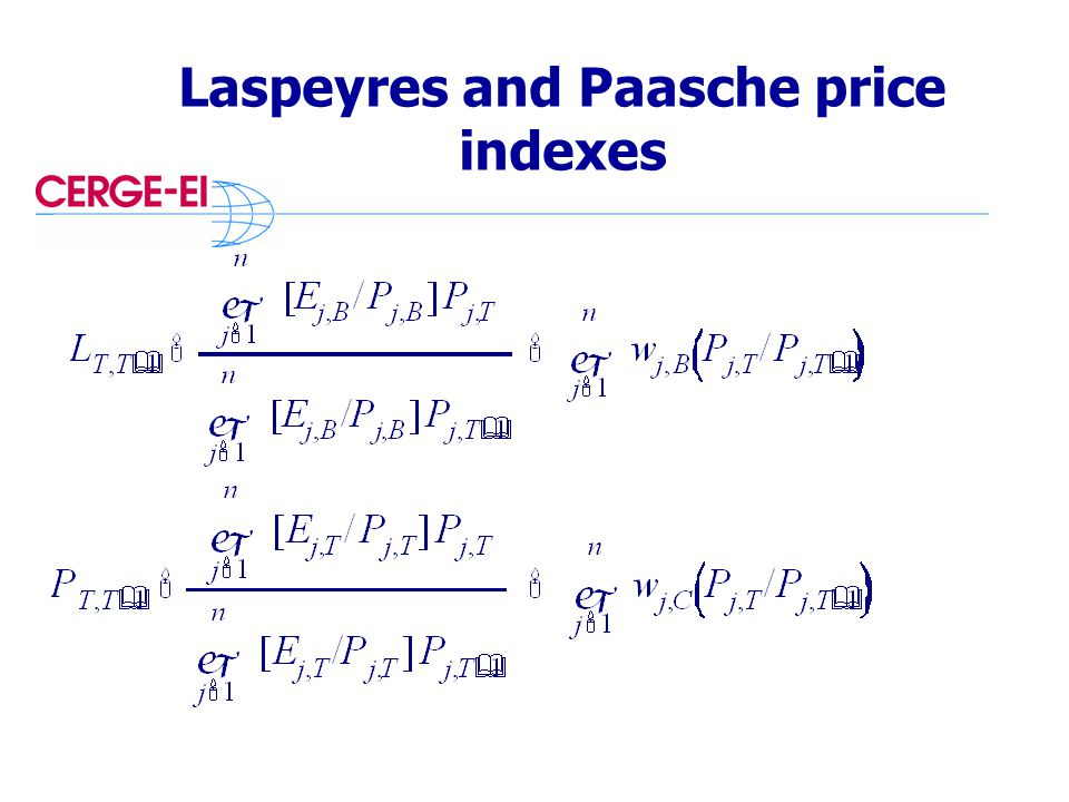 Laspeyres and Paasche price indexes