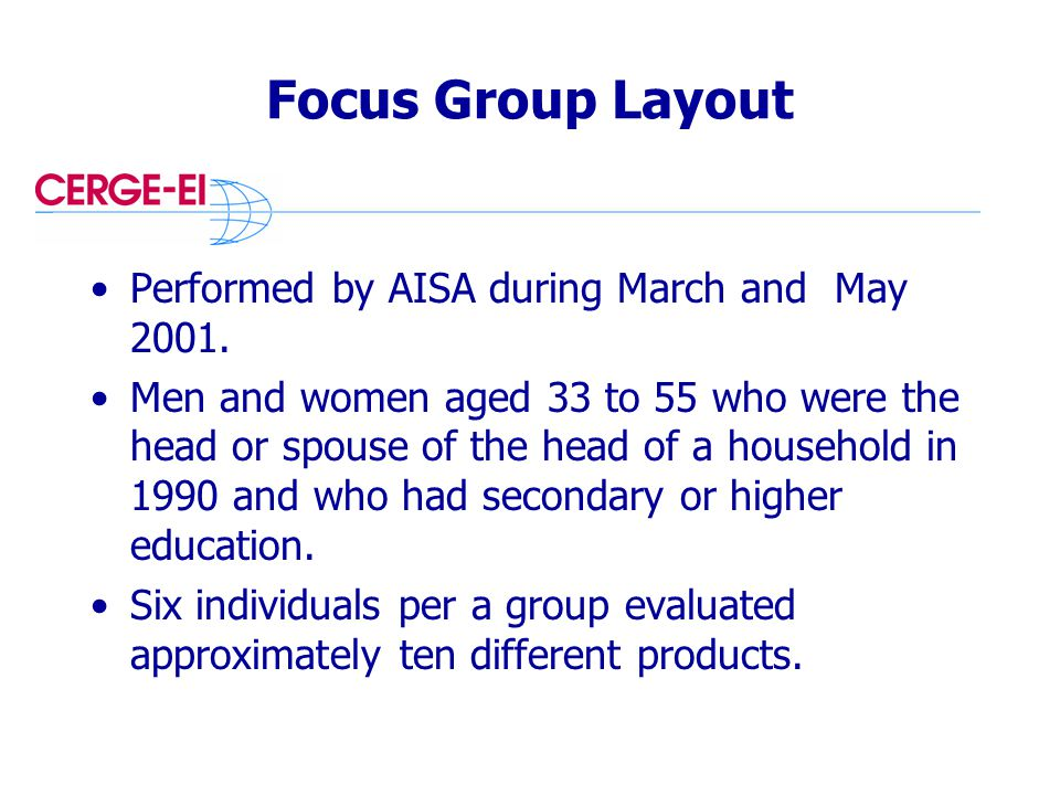 Focus Group Layout Performed by AISA during March and May 2001.
