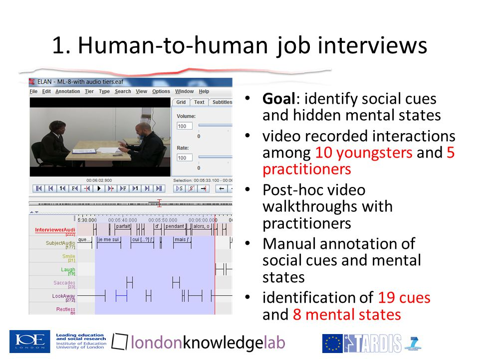 1. Human-to-human job interviews Goal: identify social cues and hidden mental states video recorded interactions among 10 youngsters and 5 practitione