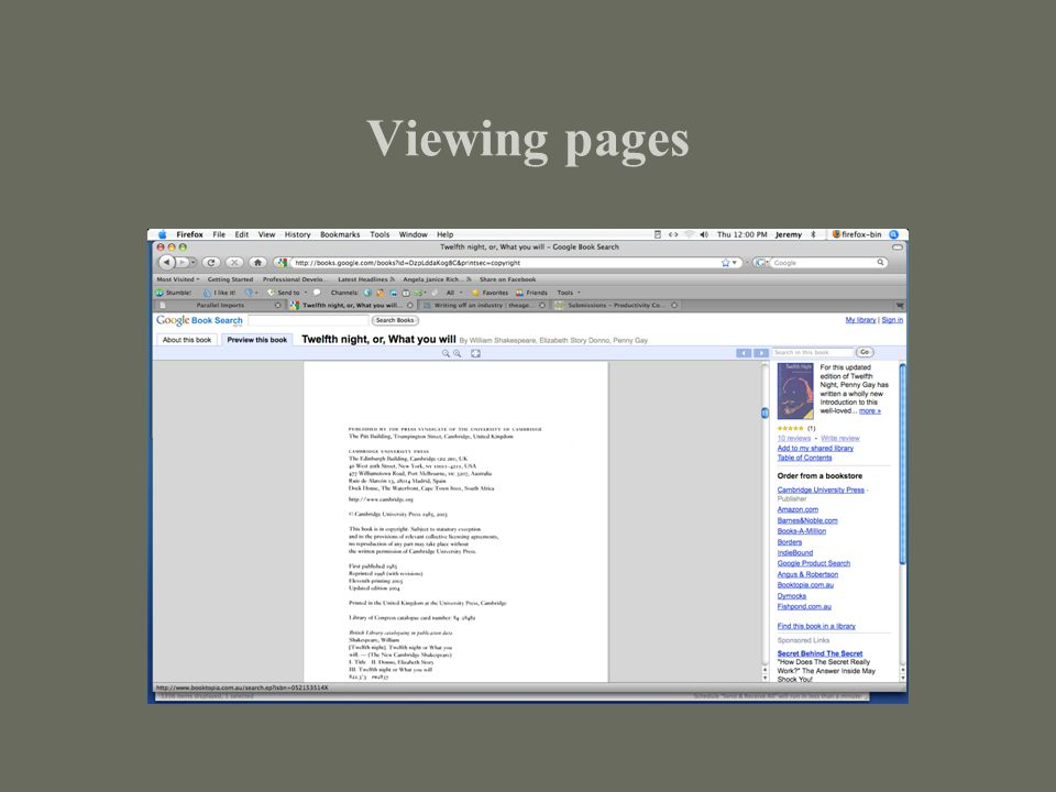 Viewing pages