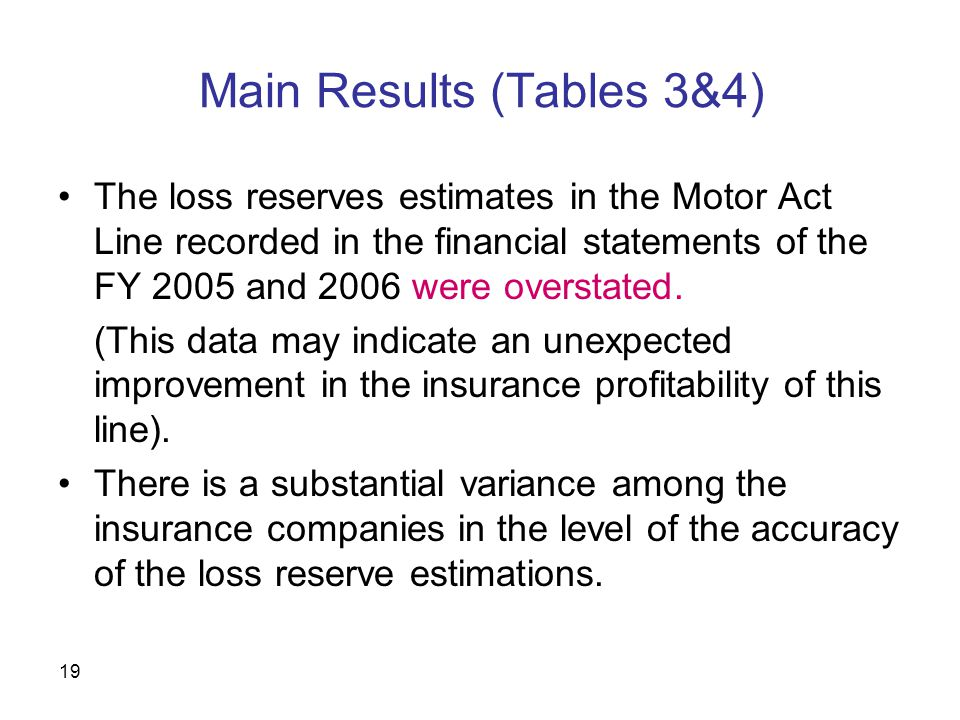 19 Main Results (Tables 3&4) The loss reserves estimates in the Motor Act Line recorded in the financial statements of the FY 2005 and 2006 were overstated.
