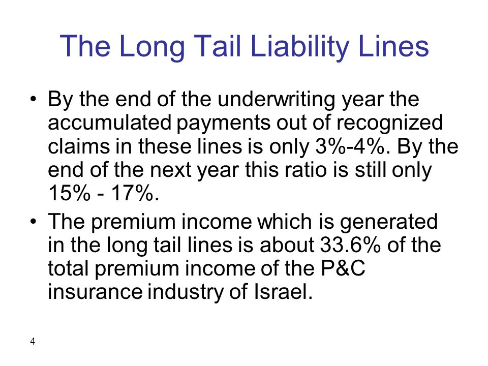 4 The Long Tail Liability Lines By the end of the underwriting year the accumulated payments out of recognized claims in these lines is only 3%-4%.