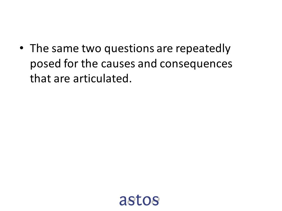 The same two questions are repeatedly posed for the causes and consequences that are articulated.