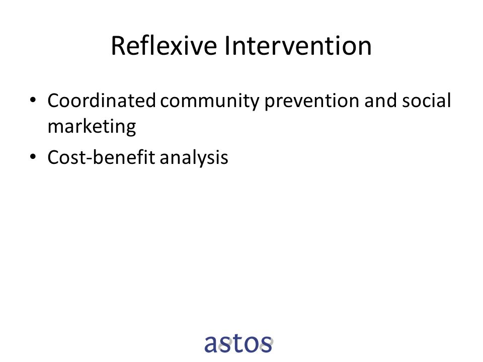 Reflexive Intervention Coordinated community prevention and social marketing Cost-benefit analysis