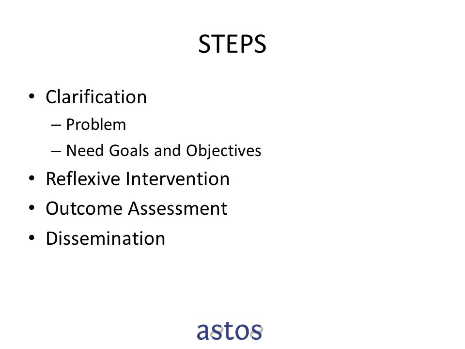 STEPS Clarification – Problem – Need Goals and Objectives Reflexive Intervention Outcome Assessment Dissemination