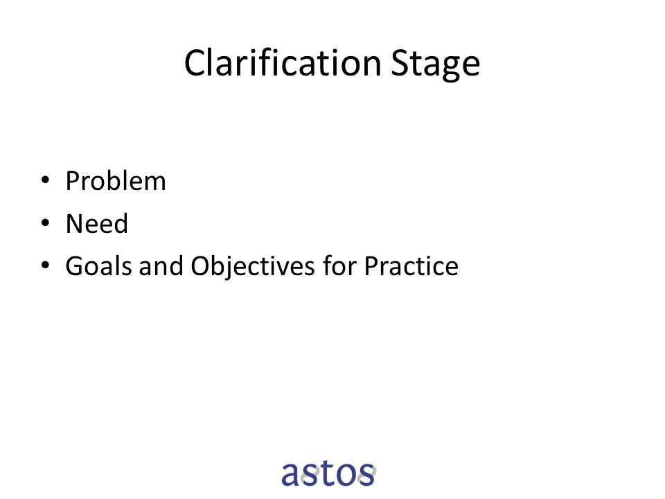 Clarification Stage Problem Need Goals and Objectives for Practice