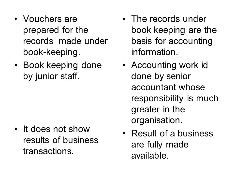 Vouchers are prepared for the records made under book-keeping. Book keeping done by junior staff. It does not show results of business transactions. T