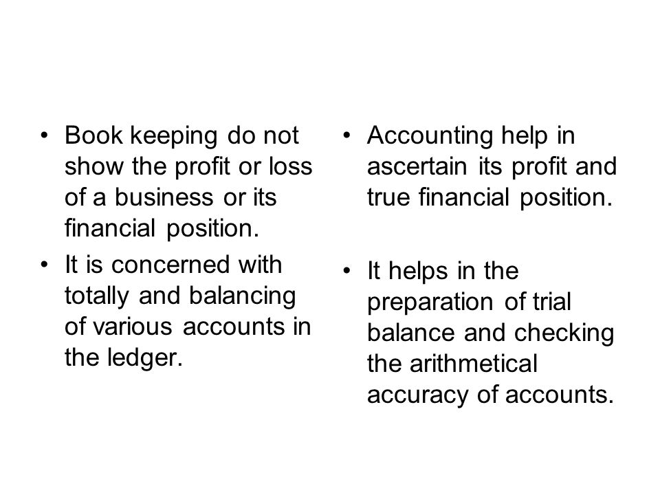 Book keeping do not show the profit or loss of a business or its financial position. It is concerned with totally and balancing of various accounts in