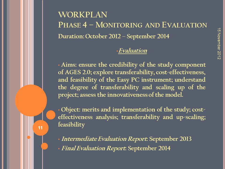 WORKPLAN P HASE 4 – M ONITORING AND E VALUATION Duration: October 2012 – September 2014 Evaluation Aims: ensure the credibility of the study component