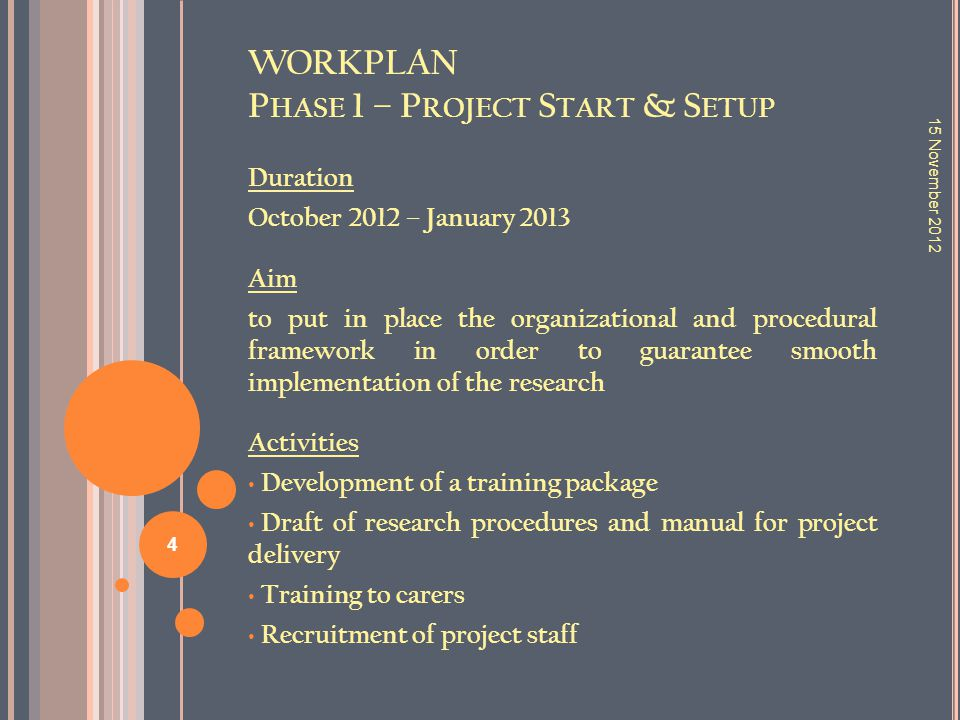 WORKPLAN P HASE 1 – P ROJECT S TART & S ETUP Duration October 2012 – January 2013 Aim to put in place the organizational and procedural framework in o