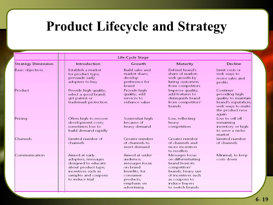 6- 19 Product Lifecycle and Strategy