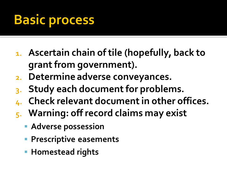 1.Ascertain chain of tile (hopefully, back to grant from government).