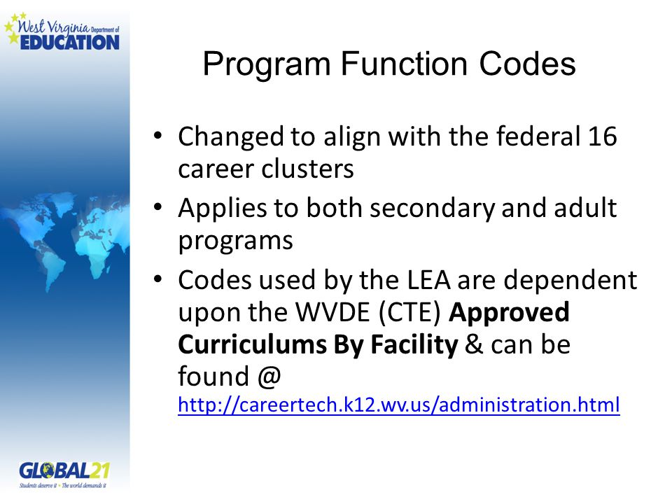 Program Function Codes Changed to align with the federal 16 career clusters Applies to both secondary and adult programs Codes used by the LEA are dependent upon the WVDE (CTE) Approved Curriculums By Facility & can be found @ http://careertech.k12.wv.us/administration.html http://careertech.k12.wv.us/administration.html