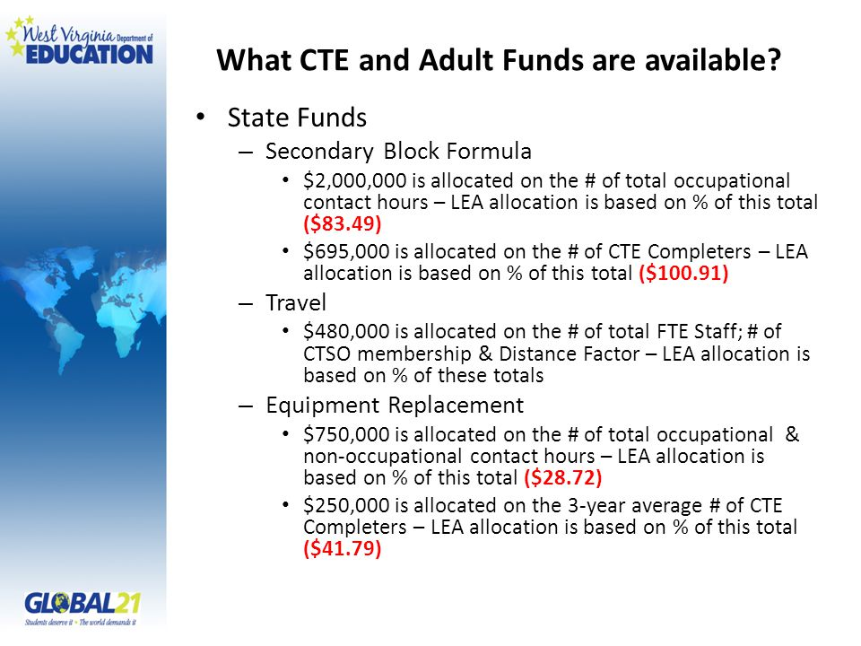 What CTE and Adult Funds are available? State Funds – Secondary Block Formula $2,000,000 is allocated on the # of total occupational contact hours – L