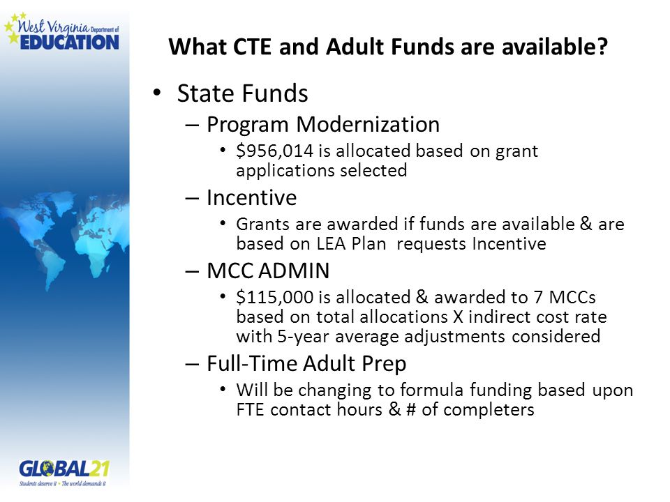 What CTE and Adult Funds are available.