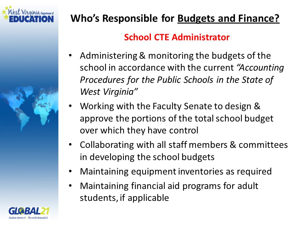 Who's Responsible for Budgets and Finance.