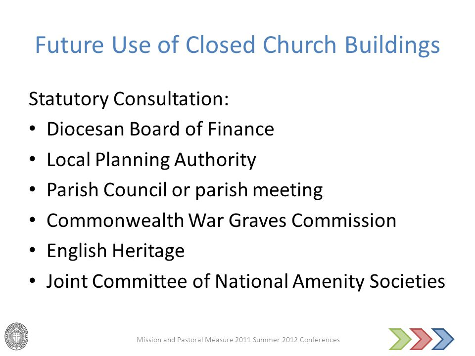 Future Use of Closed Church Buildings Statutory Consultation: Diocesan Board of Finance Local Planning Authority Parish Council or parish meeting Comm
