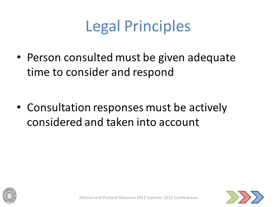 Legal Principles Person consulted must be given adequate time to consider and respond Consultation responses must be actively considered and taken int