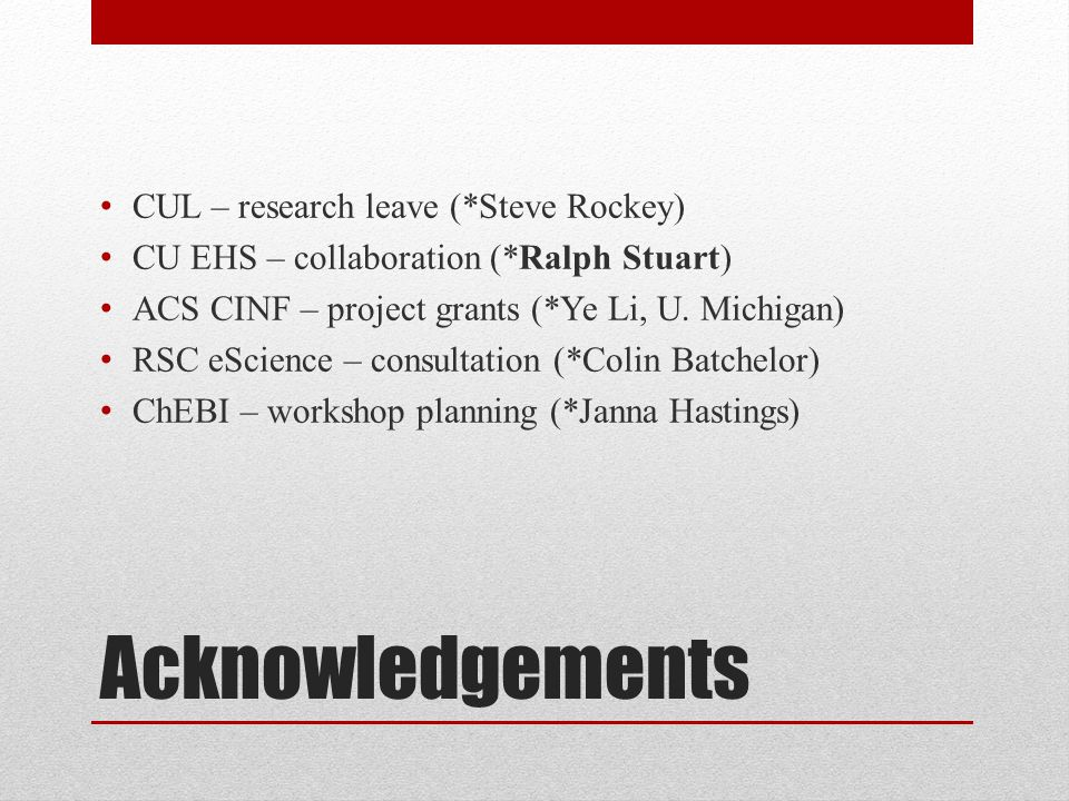 Acknowledgements CUL – research leave (*Steve Rockey) CU EHS – collaboration (*Ralph Stuart) ACS CINF – project grants (*Ye Li, U.