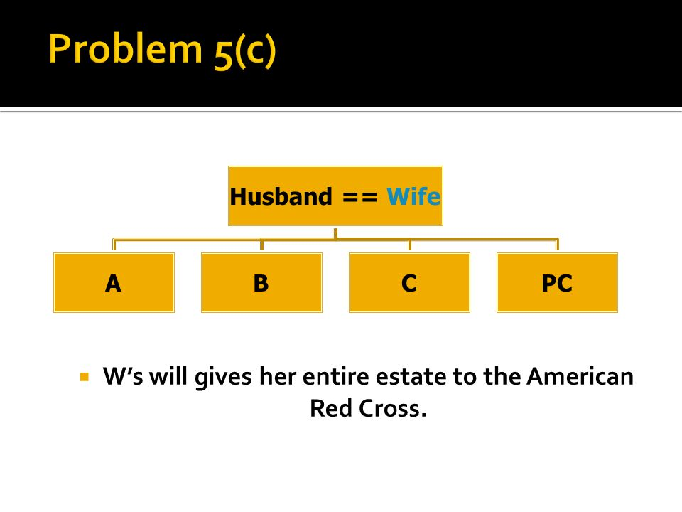  W's will gives her entire estate to the American Red Cross. Husband == Wife ABCPC