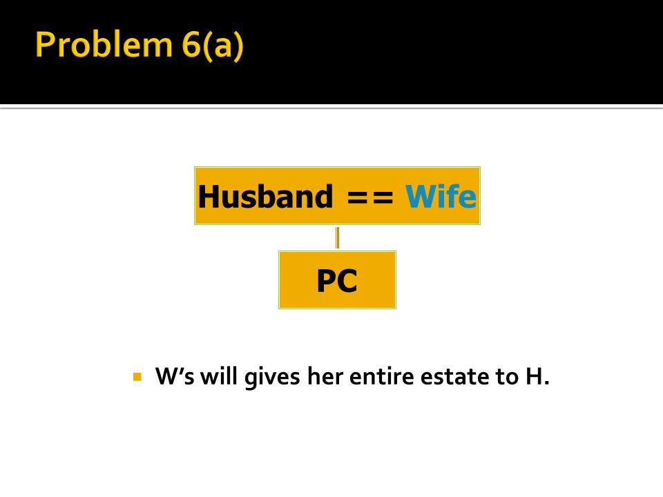  W's will gives her entire estate to H. Husband == Wife PC