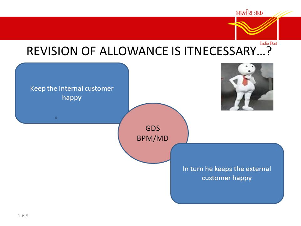 Keep the internal customer happy REVISION OF ALLOWANCE IS ITNECESSARY…? 2.6.8 GDS BPM/MD In turn he keeps the external customer happy