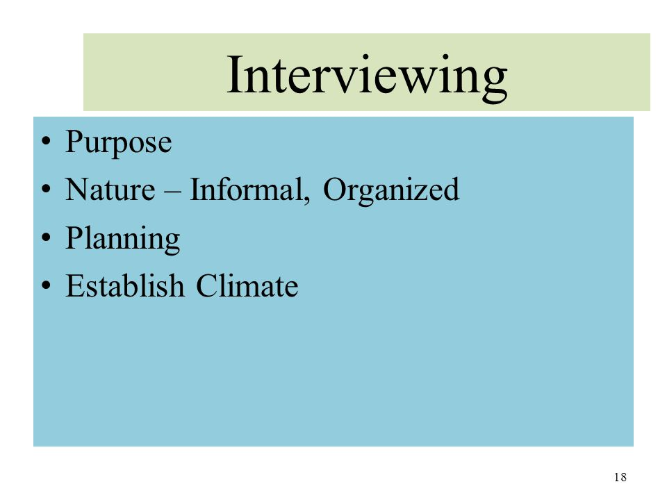 Interviewing Purpose Nature – Informal, Organized Planning Establish Climate 18