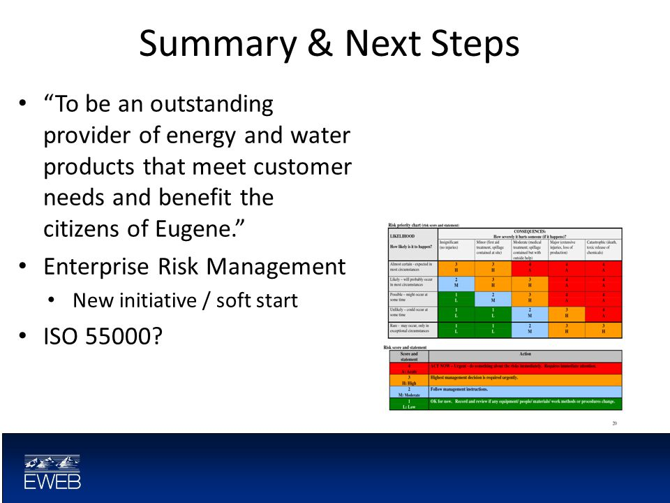 Summary & Next Steps To be an outstanding provider of energy and water products that meet customer needs and benefit the citizens of Eugene. Enterprise Risk Management New initiative / soft start ISO 55000?