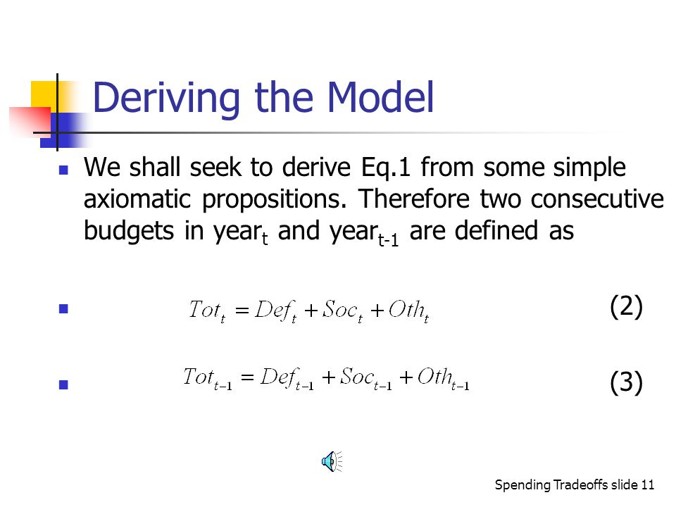 Spending Tradeoffs slide 10 Building Theory Let us start with the idea that we wish to ascertain the theoretical validity of the classic model.