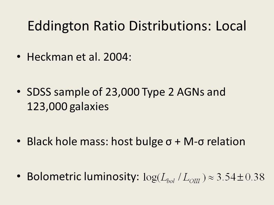 Eddington Ratio Distributions: Local Heckman et al. 2004: SDSS sample of 23,000 Type 2 AGNs and 123,000 galaxies Black hole mass: host bulge σ + M-σ r