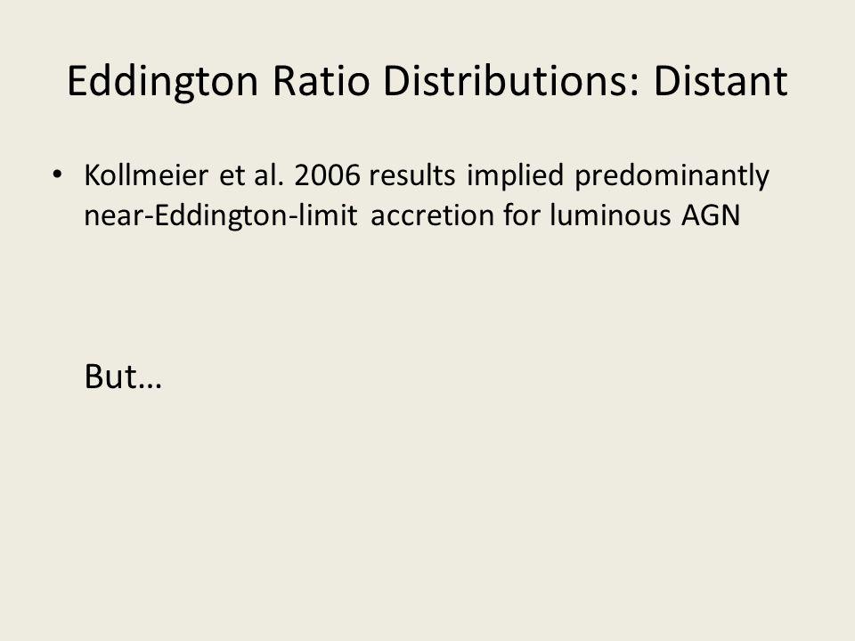 Eddington Ratio Distributions: Distant Kollmeier et al. 2006 results implied predominantly near-Eddington-limit accretion for luminous AGN But…