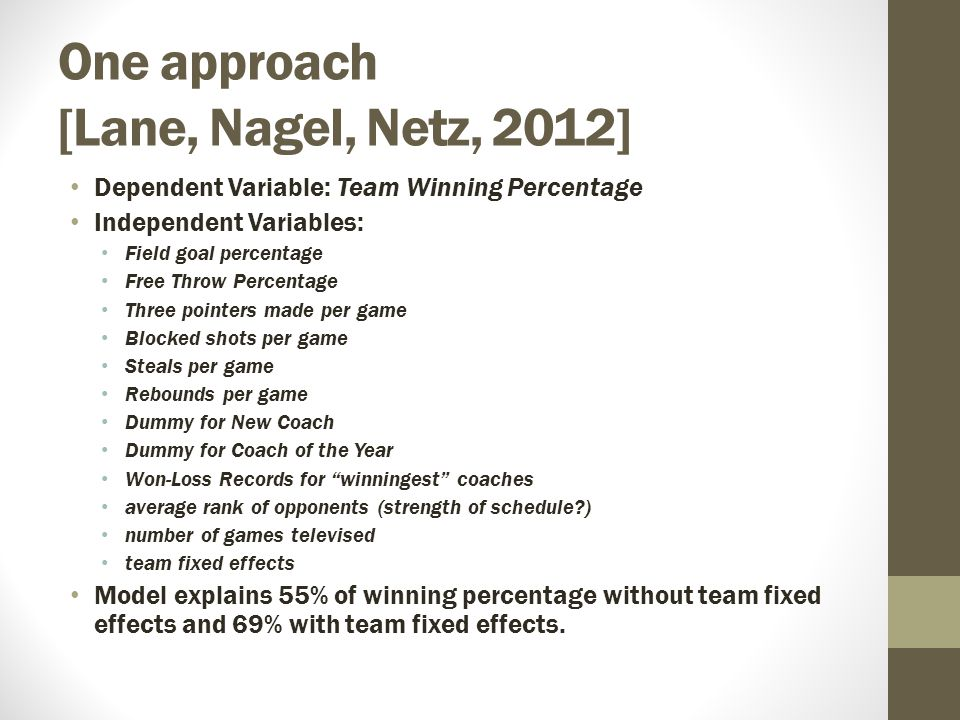 One approach [Lane, Nagel, Netz, 2012] Dependent Variable: Team Winning Percentage Independent Variables: Field goal percentage Free Throw Percentage Three pointers made per game Blocked shots per game Steals per game Rebounds per game Dummy for New Coach Dummy for Coach of the Year Won-Loss Records for winningest coaches average rank of opponents (strength of schedule ) number of games televised team fixed effects Model explains 55% of winning percentage without team fixed effects and 69% with team fixed effects.