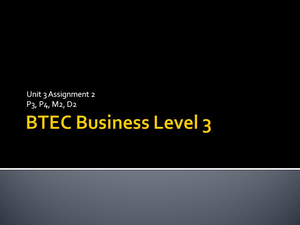 Unit 3 Assignment 2 P3, P4, M2, D2