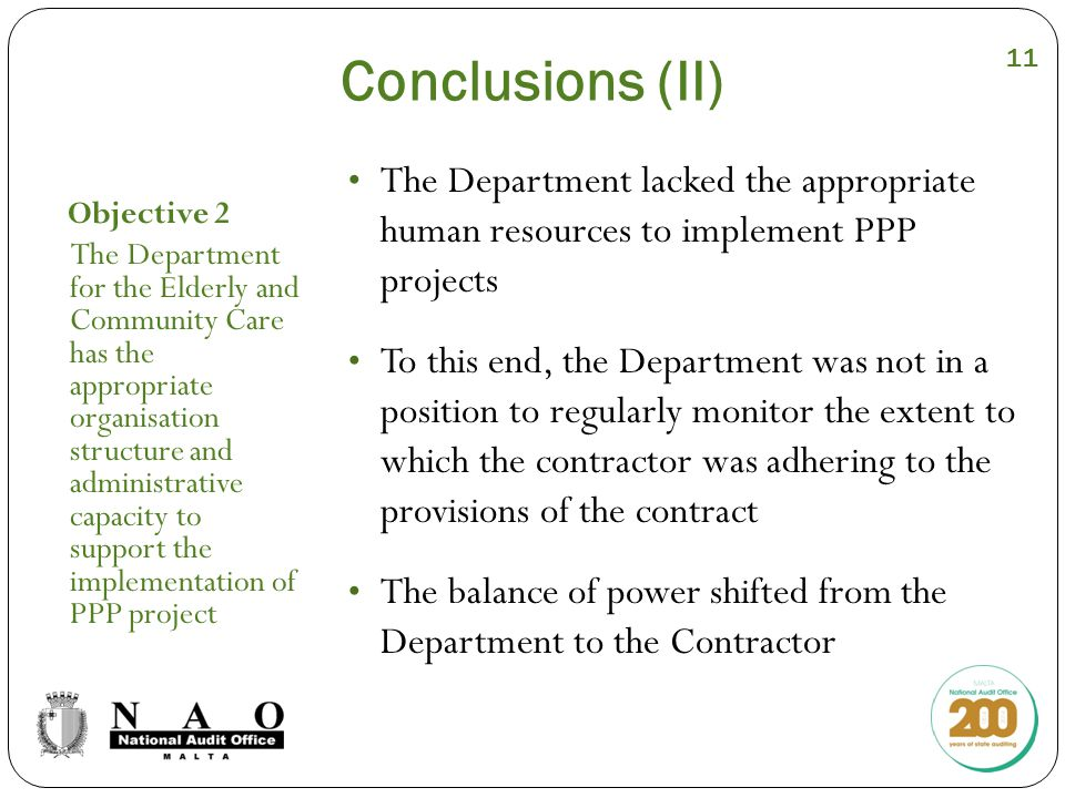 Conclusions (II) Objective 2 The Department for the Elderly and Community Care has the appropriate organisation structure and administrative capacity to support the implementation of PPP project The Department lacked the appropriate human resources to implement PPP projects To this end, the Department was not in a position to regularly monitor the extent to which the contractor was adhering to the provisions of the contract The balance of power shifted from the Department to the Contractor 11