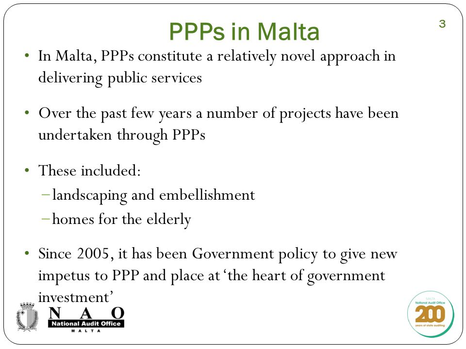 Lessons Learnt (I) From a macro-level perspective The full benefits of PPPs can only be exploited when the contracting authority has the appropriate administration capacity and organisational structure to manage, control and monitor all aspects related to the project The effectiveness of PPPs depends on the Public Service's ability to clearly determine its needs and outcomes from projects Choosing the right PPP model is critical in optimising value for money A strong negotiation team, which is well versed in the industry and business practices, is vital to ensure that the Public Sector's interests are appropriately safeguarded 14