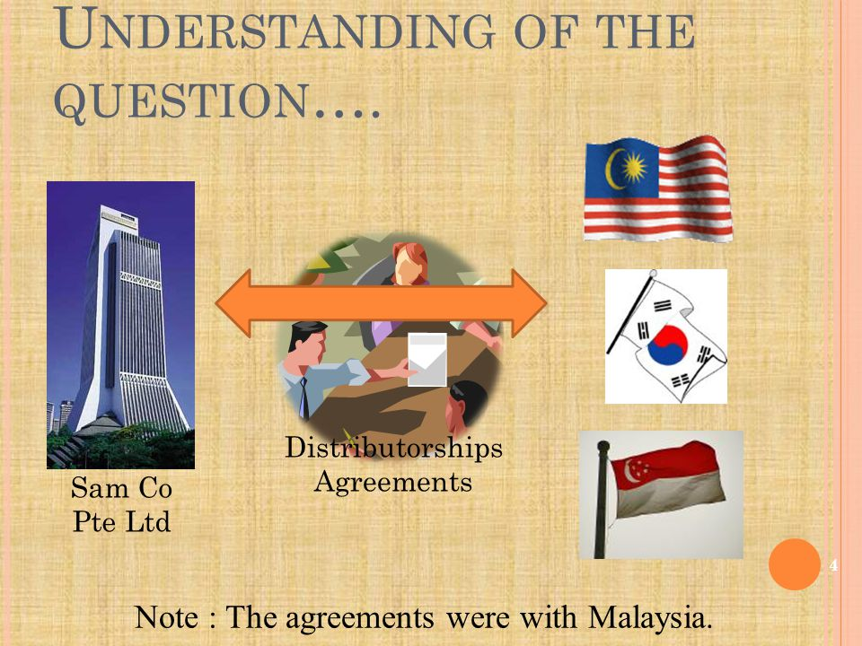 Distributorships Agreements Note : The agreements were with Malaysia.